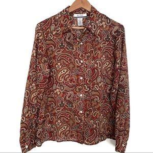 NineWest paisley print sheer long sleeve blouse
